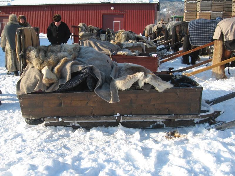 Langslede er det lasskjørerne tradisjonelt brukte til Røros. Her med kasse på. Foto: Karine Bogsti