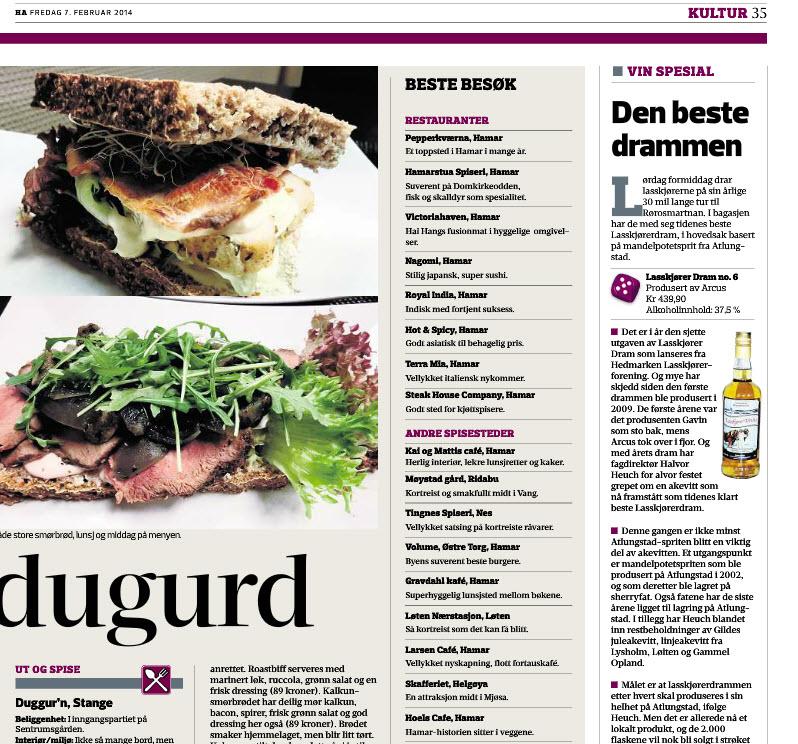 Vi håper mange leser Hamar Arbeiderblad, og spesielt matsidene.
