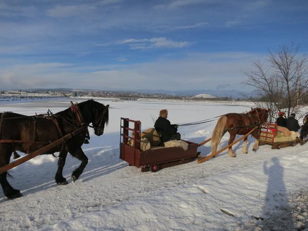 Så vidt isen har lagt seg i Åkersvika dette året. Her Kjell Ivar Stensli og hesten Smukken. Foto: Karine Bogsti