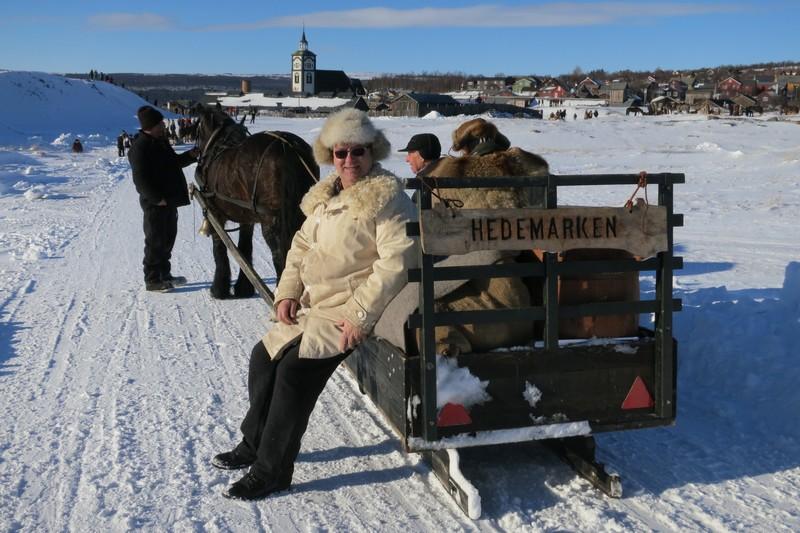 Bjarne Lang-Ree (lederen vår) fra Stange er klar for marten. Romedølene Truls Mathisen (ved hesten Romedalsprinsen) og Emil Bryn har kjørt denne sleden. Foto: Karine Bogsti