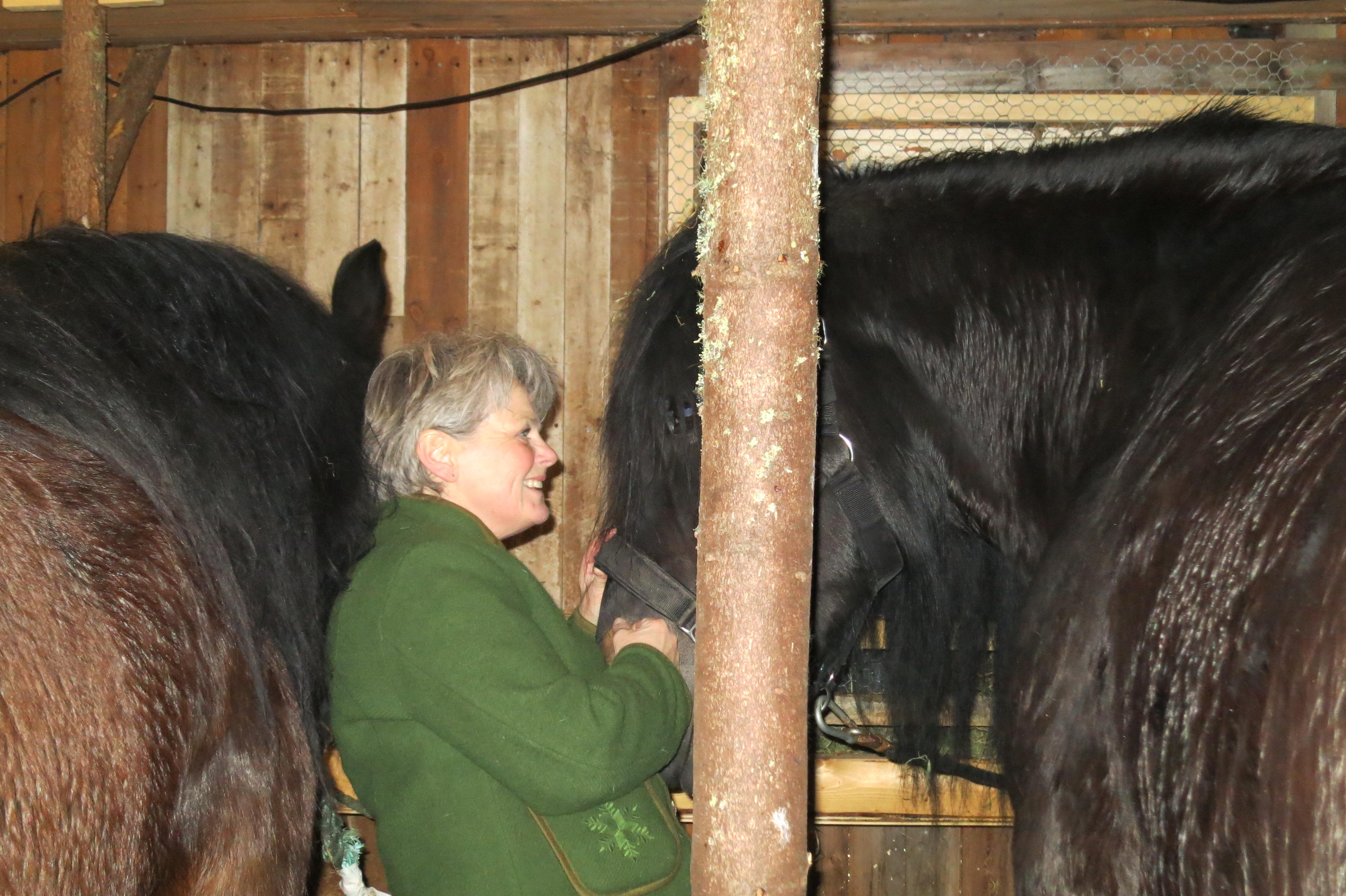 Eli hilser på Molly i stallen. Foto: K. Bogsti