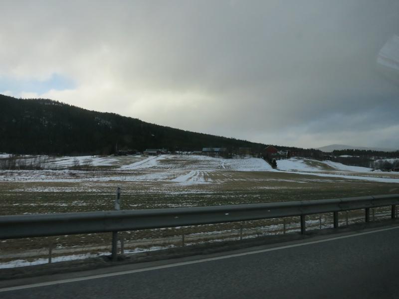 Lite snø på strekket mellom Alvdal og Telneset. Vegen vi kjører går litt oppe i lia her. Foto: Karine Bogsti