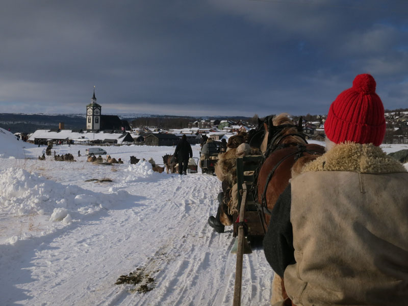 Opp mot 80 ekvipasjer (hest og slede) fra nord, sør, øst og vest kjørte inn på Rørosmartnan. Vi kom lengst sørfra. Foto: Karine Bogsti
