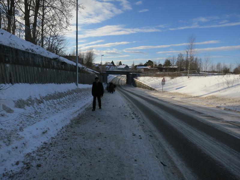 Vi krysser jernbanene flere ganger under turen, men det var bare denne ene gangen våre veier krysset Dovrebanen. Jernbanen var en viktig grunn til at lasskjøring ble slutt, Foto: Karine Bogsti