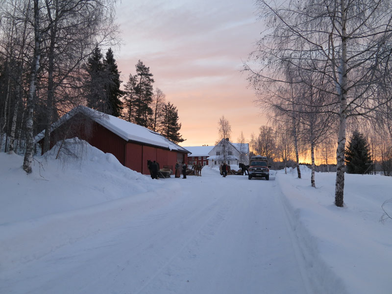 På tur igjen etter ei god natt søvn på Viken hos Sverre Holm og familie. Foto: Karine Bogsti