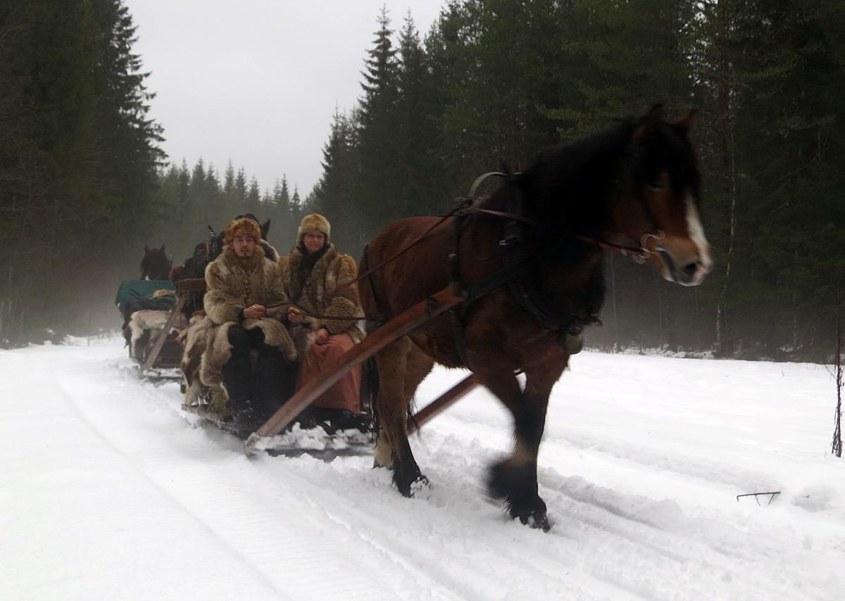 Kusker Kenneth Mugaas fra Gausdal og Gry Ottesen fra Brøttum med hesten Gunnar som var med fra Atlungstad til Strandbygda. Foto: Karine Bogsti
