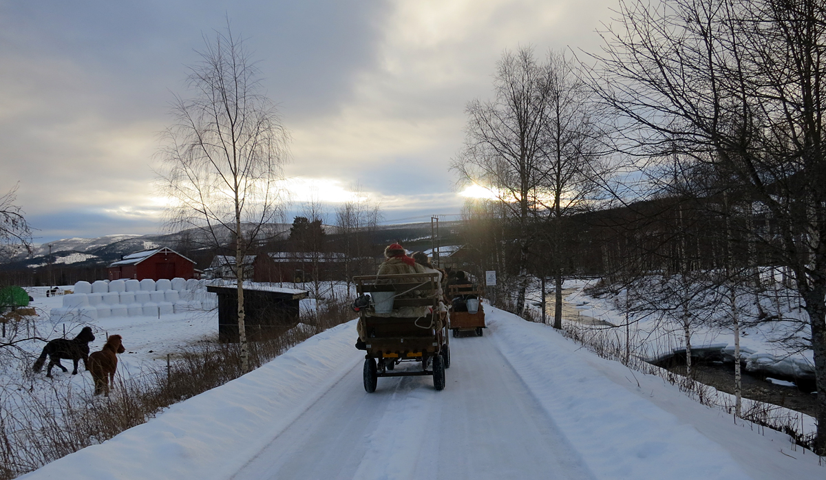 Vi svinger inn til kveldens mål; Arnesvea hos Follstad litt nord for Koppang. Foto: Karine Bogsti