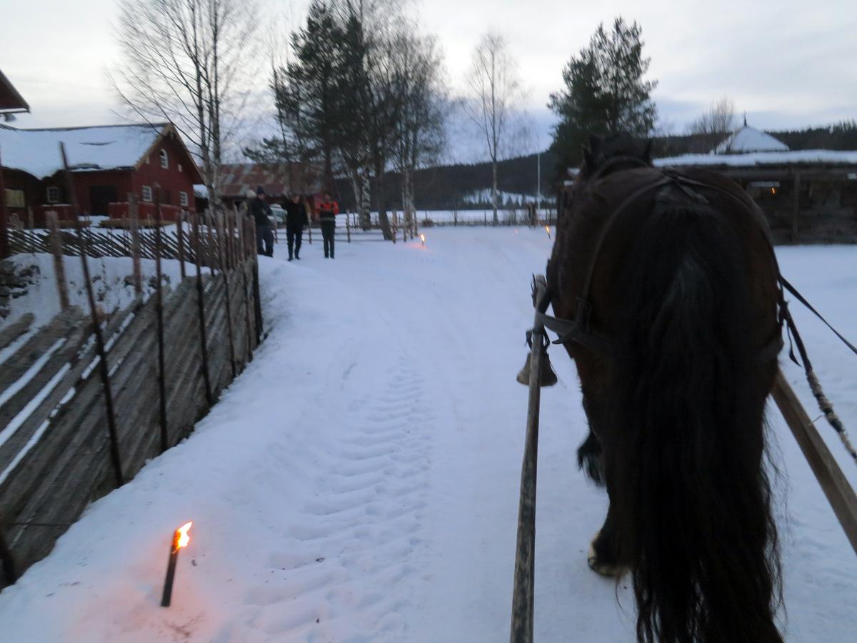 Hyggelig velkomst med fakler og velkomstkomite når vi svinger inn på Grøtting. Foto: Karine Bogsti