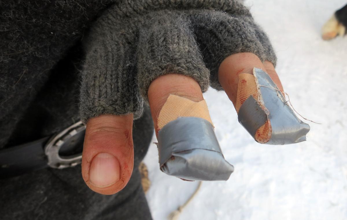 Turens første plastring etter en sko ble slått på igjen og hesten dro til seg beinet litt før sømmen var ferdig. Foto: Karine Bogsti