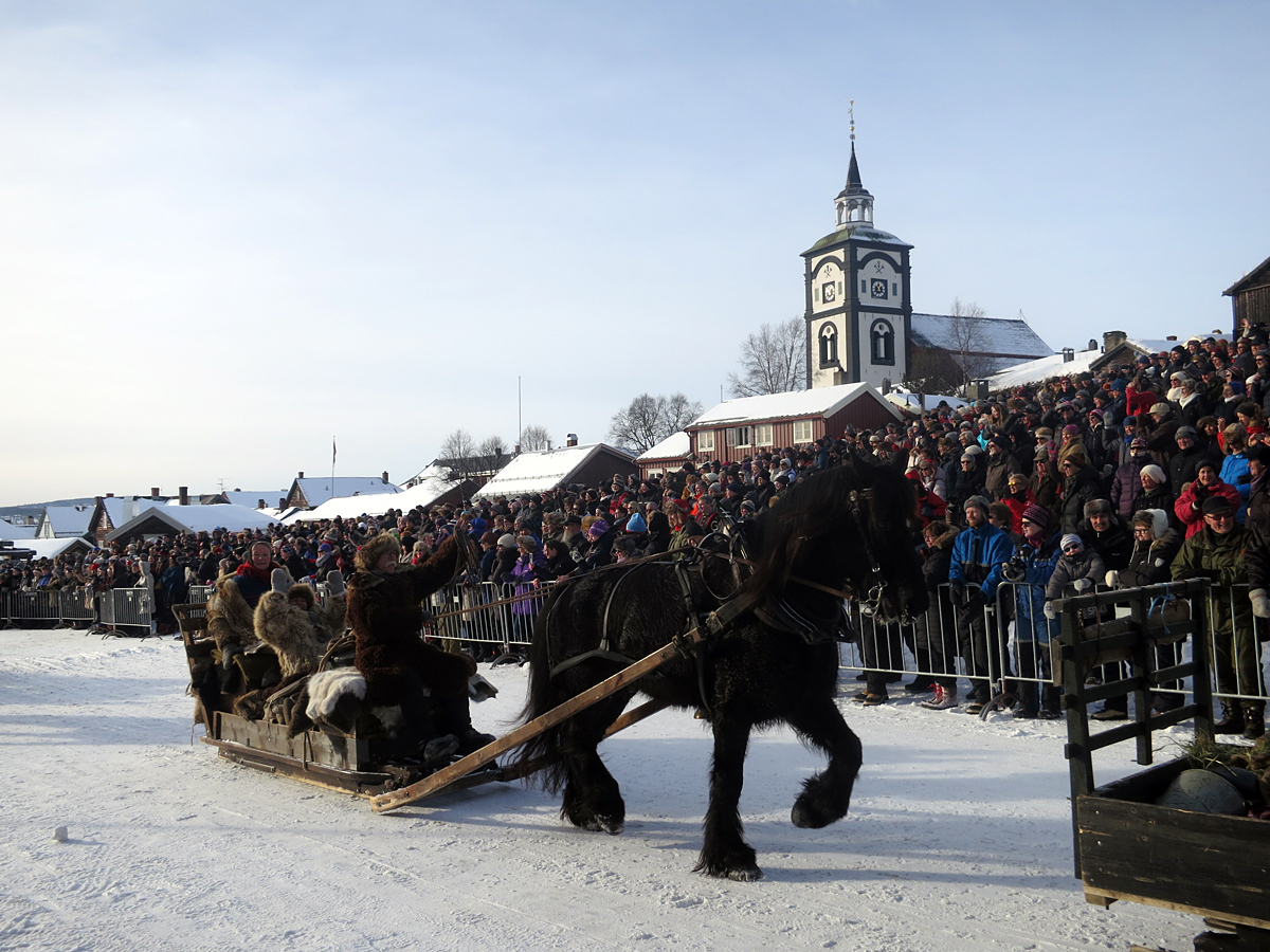 Hesten Oliver med Geir Ingvaldsen, Marit Lahlum Ruud og Mari Bryhni på Malmplassen. Foto: Karine Bogsti